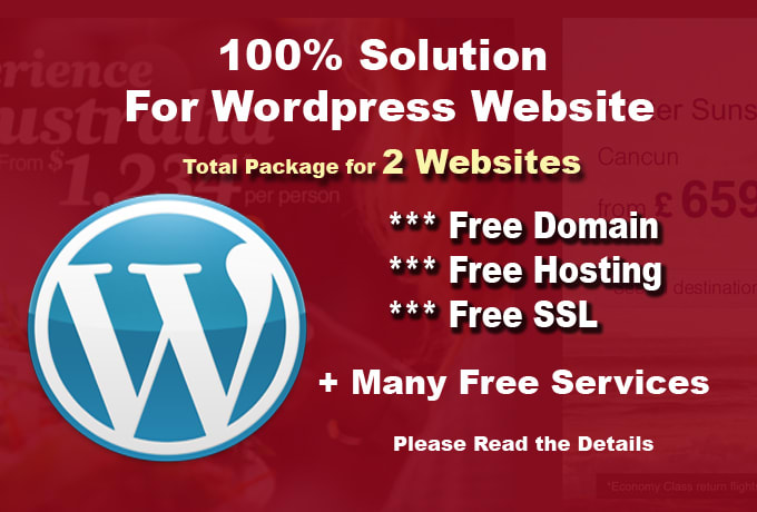 Give you 2 websites free hosting, free domain with wordpress and ...