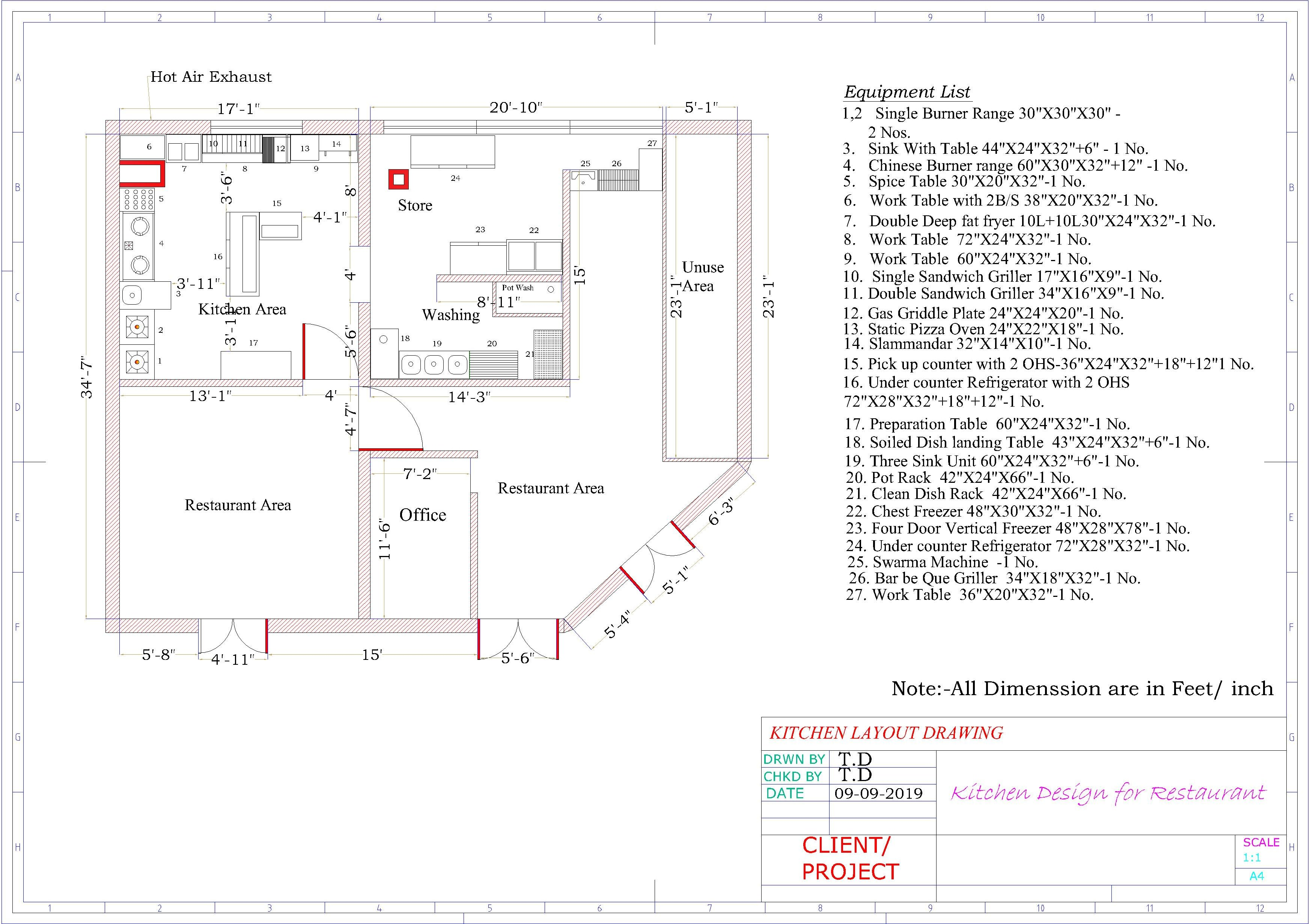Design,of your commercial kitchen layout of hotel,restaurant,bar ...