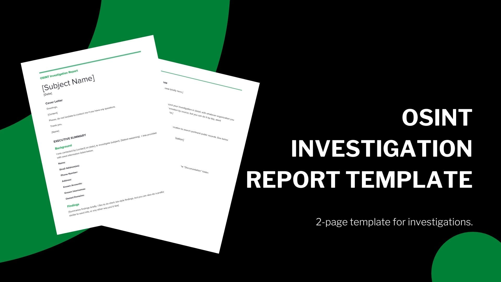 send you an osint investigation report template With Me Report Template