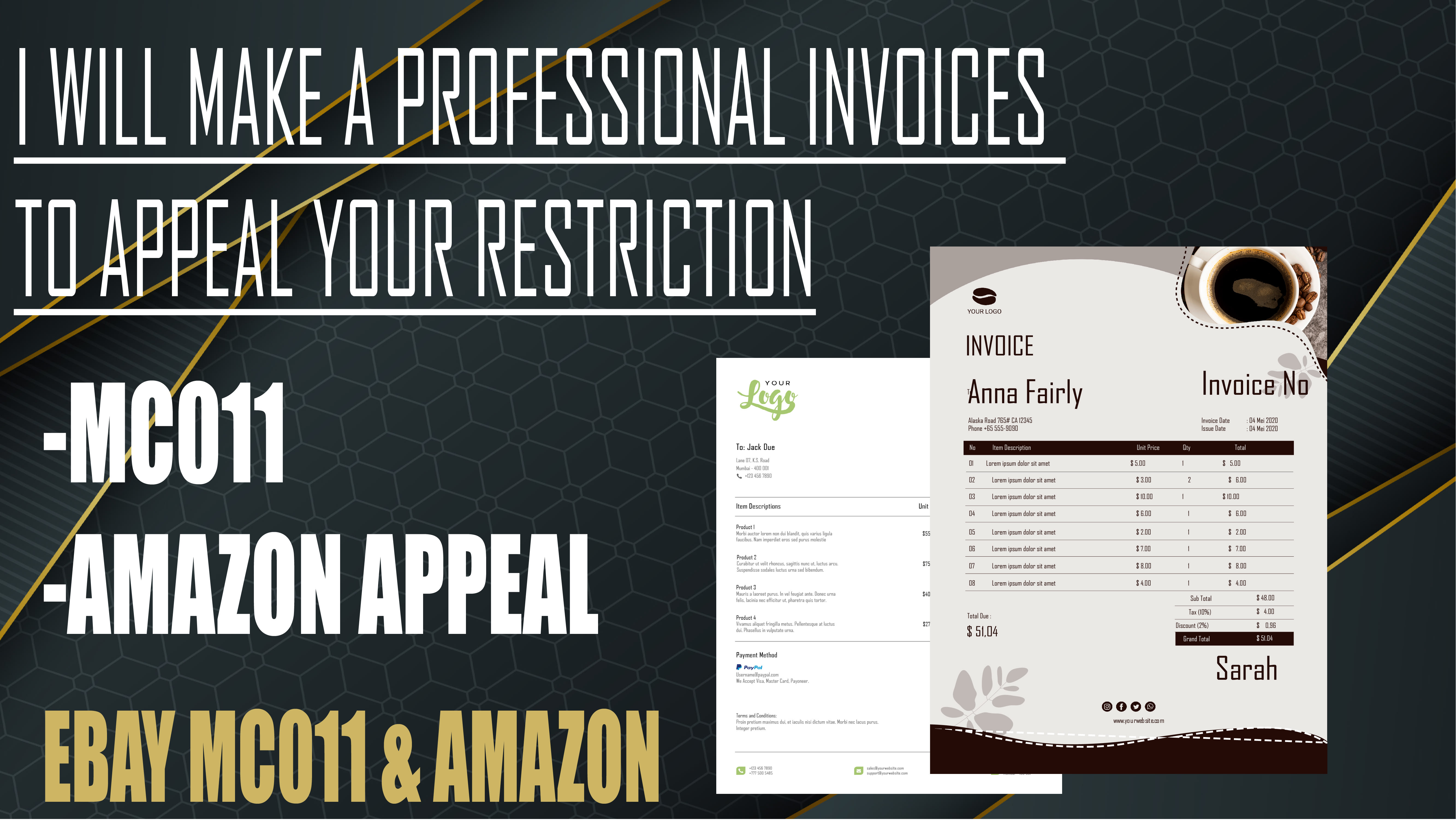 Make A Professional Invoices To Appeal Your Amazon Or Ebay Mc011 Suspension By Thebest990