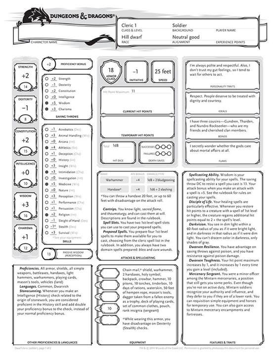 Create A Dungeons And Dragons 5e Character Sheet Pdf By Redmondgurney