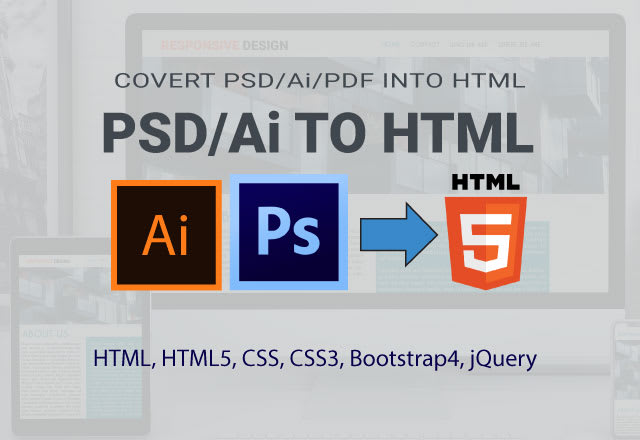 Convert Ai Pdf Psd To Html Css Bootstrap By Logoxl