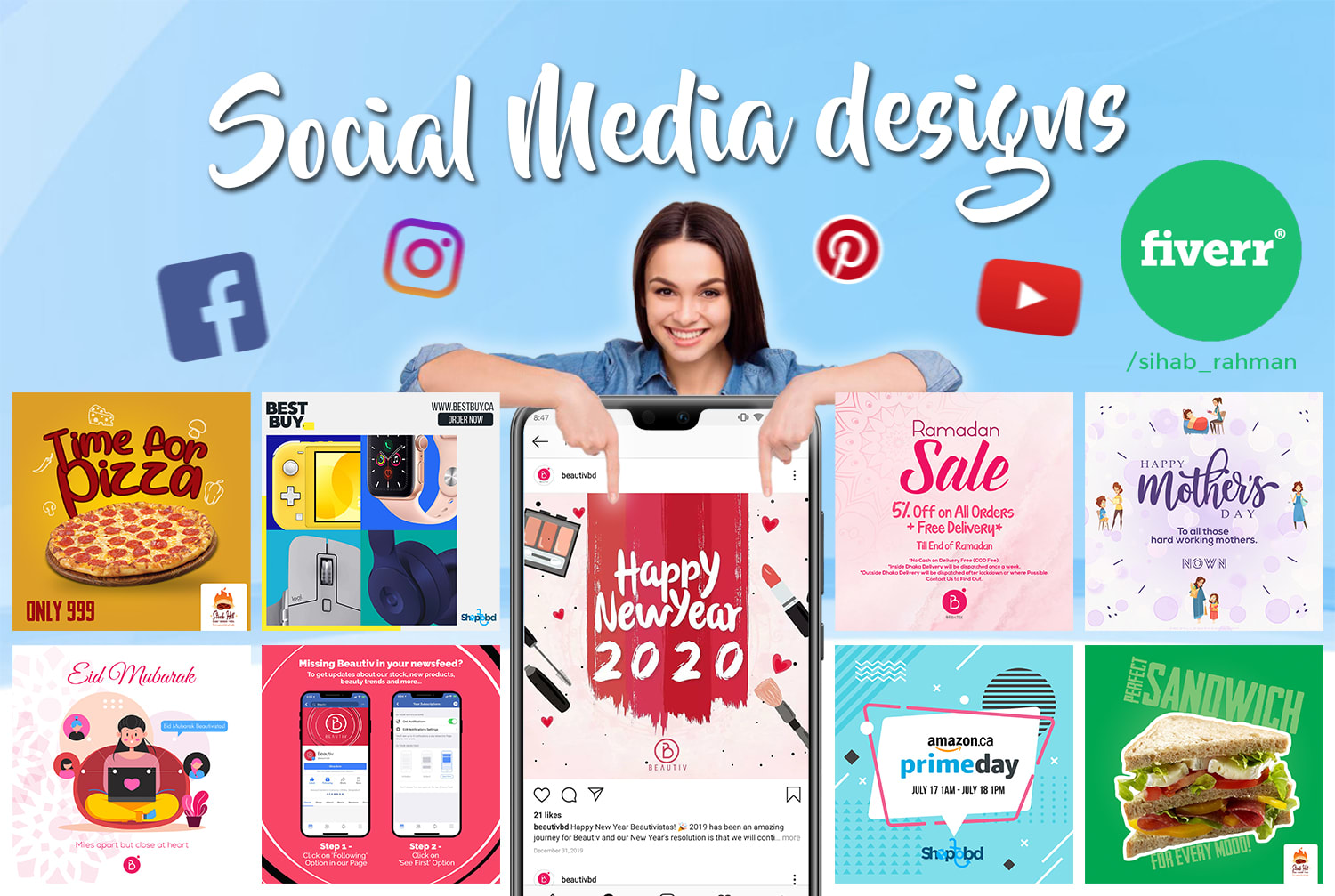 Do Social Media Post Design For Facebook Youtube Instagram Pinterest By Sihab Rahman