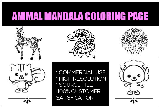 Create Adult And Kids Animal Mandala Coloring Page By Poran99