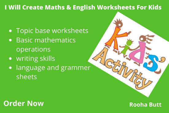 Create Math And English Worksheets For Kids By Roohabutt Fiverr