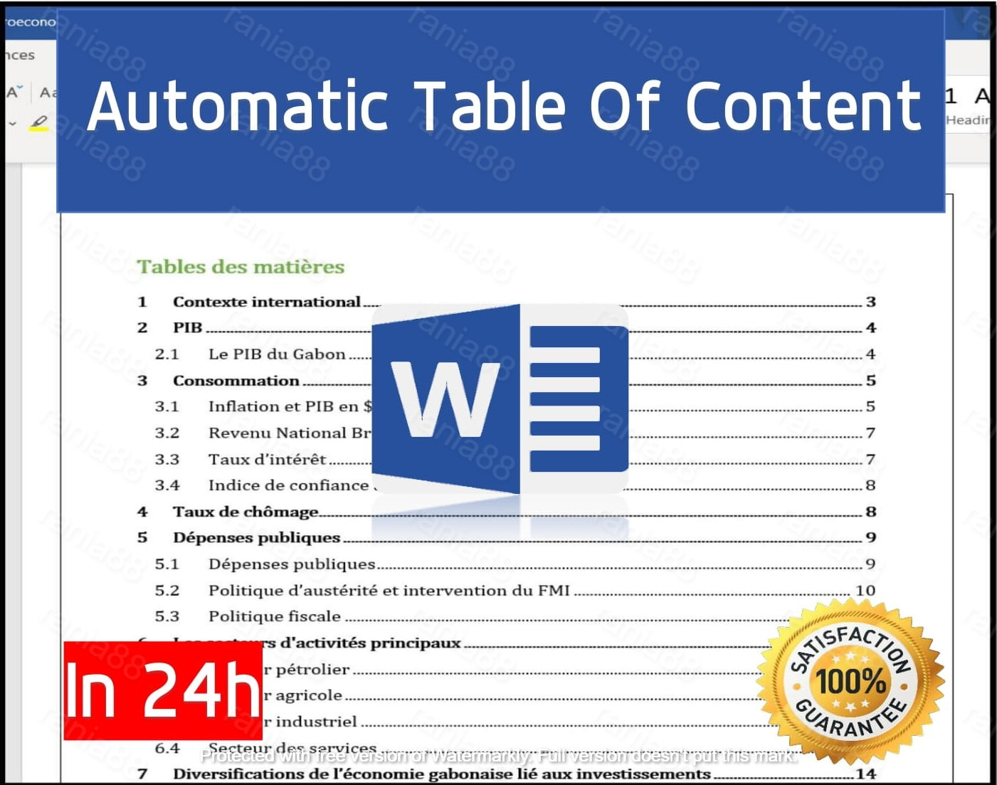 create automatic table of contents of your microsoft word
