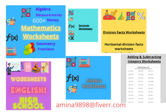 Create Secondary Classes Mathematics Worksheets By Amina9898 Fiverr