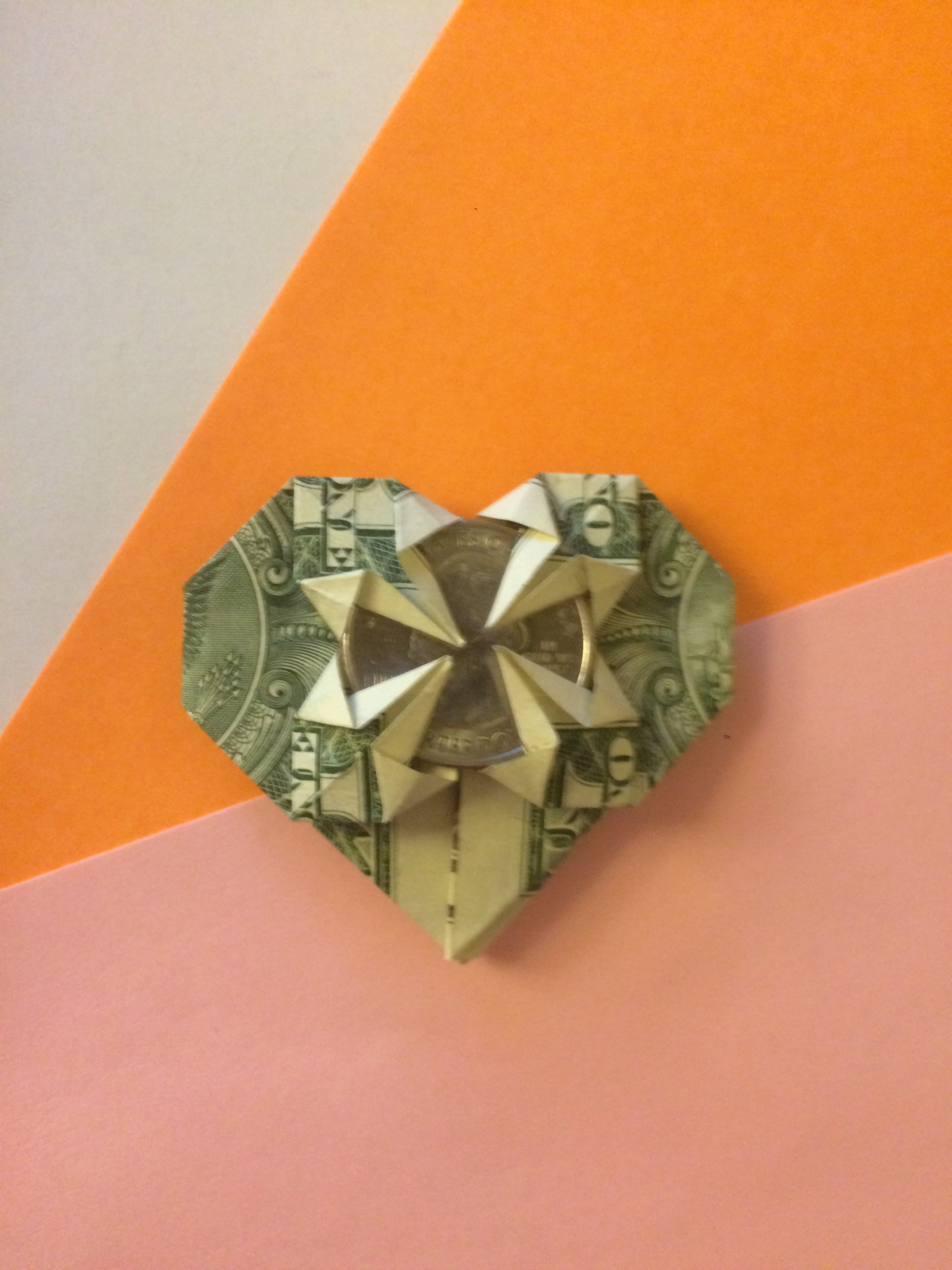 Origami ♥ Dollar Bill Heart + Quarter - YouTube | 3264x2448