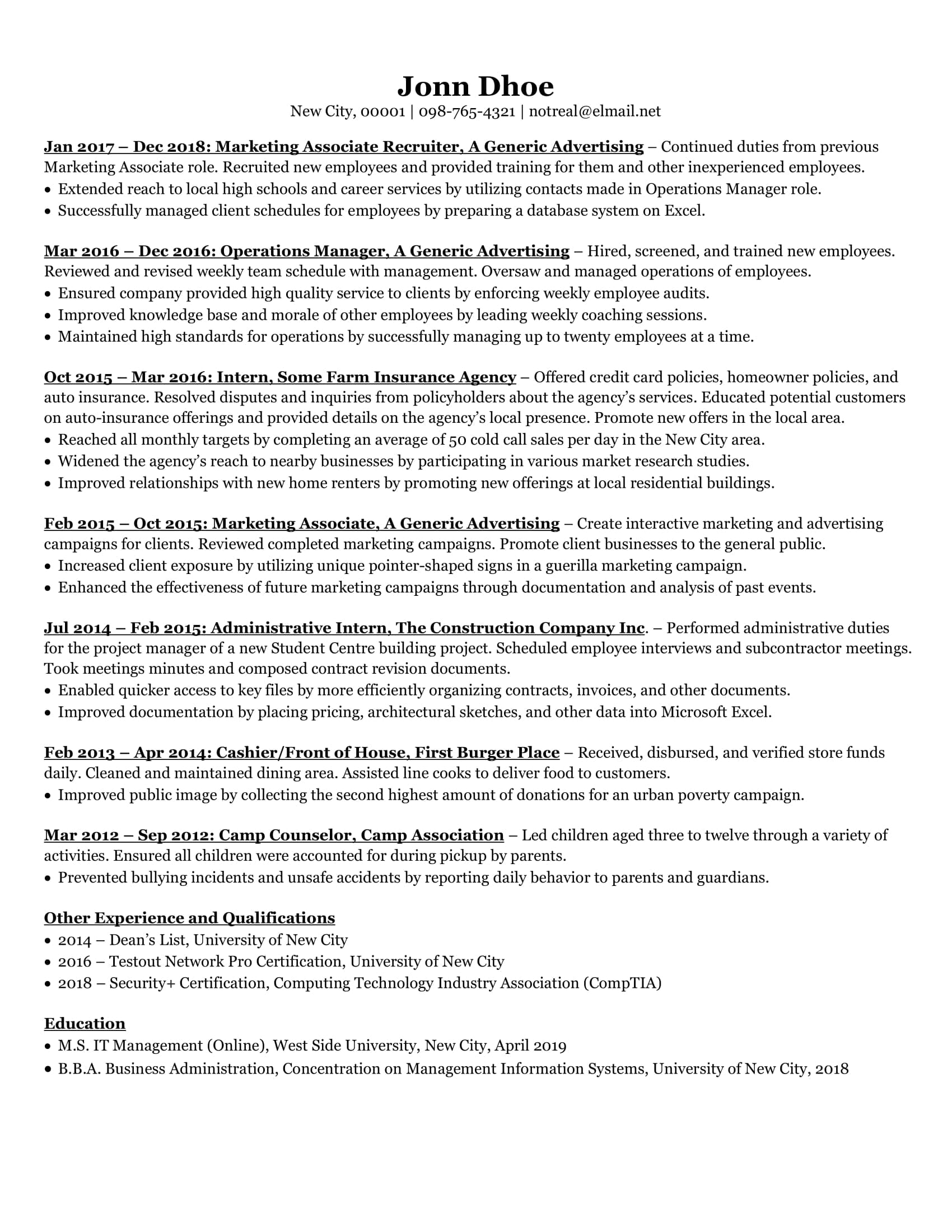 One Page Resume For Experienced from fiverr-res.cloudinary.com