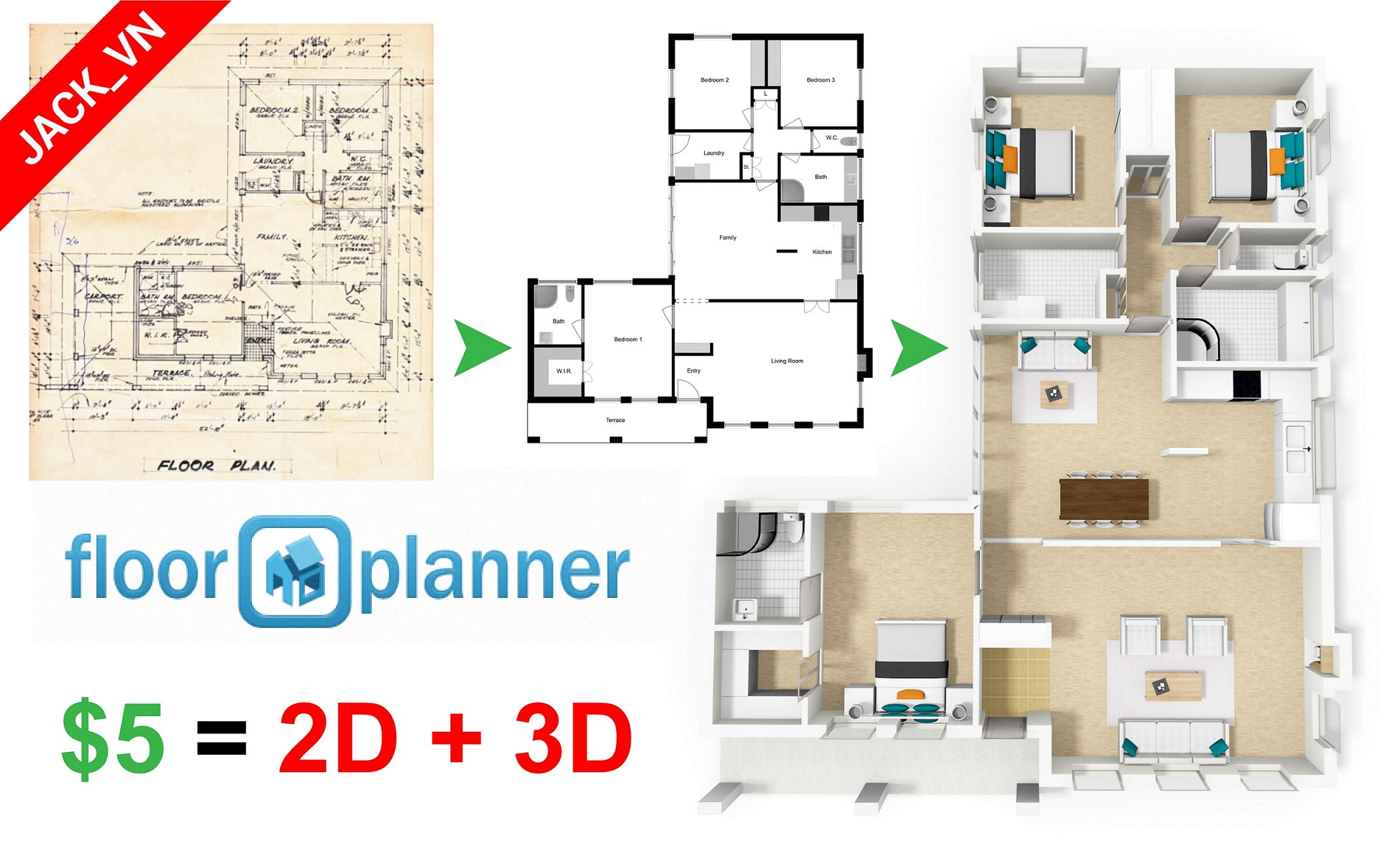 Create 2d and 3d floor plan with
