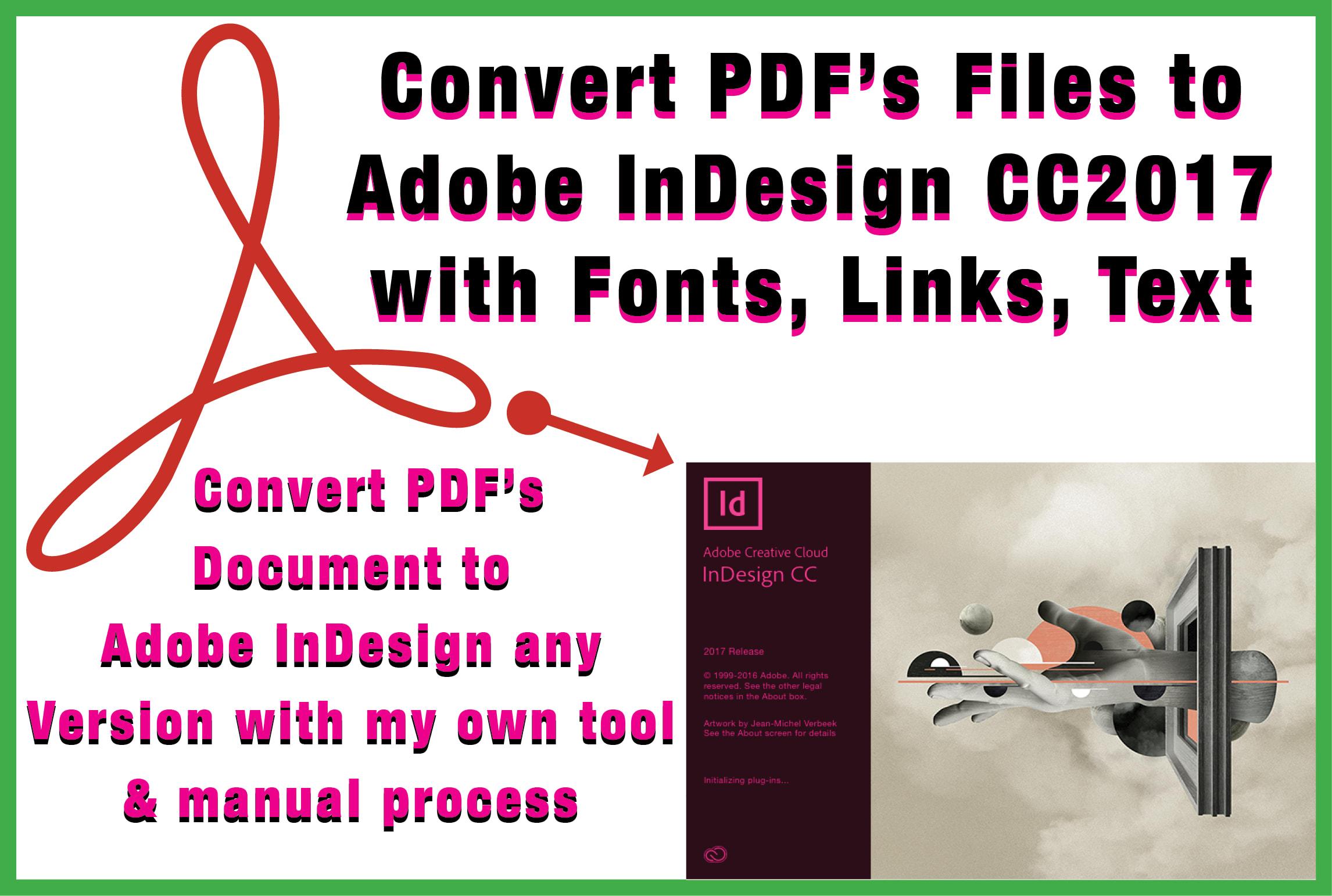 convert PDF files to adobe indesign cc2017