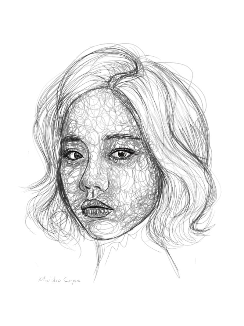 I will sketch 2 portraits in scribble style