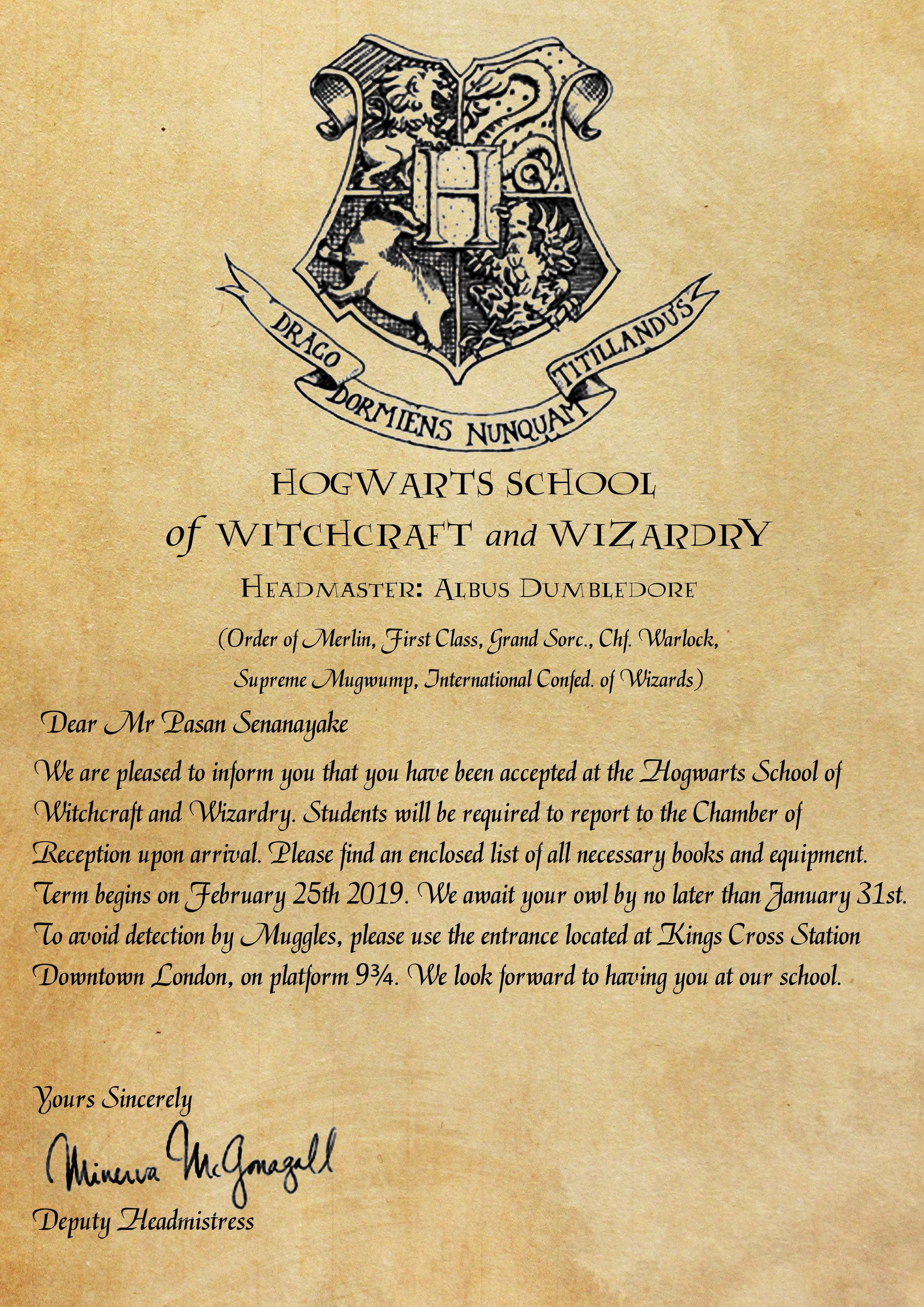 Create personalized hogwarts acceptance letter by Pasansenanayake