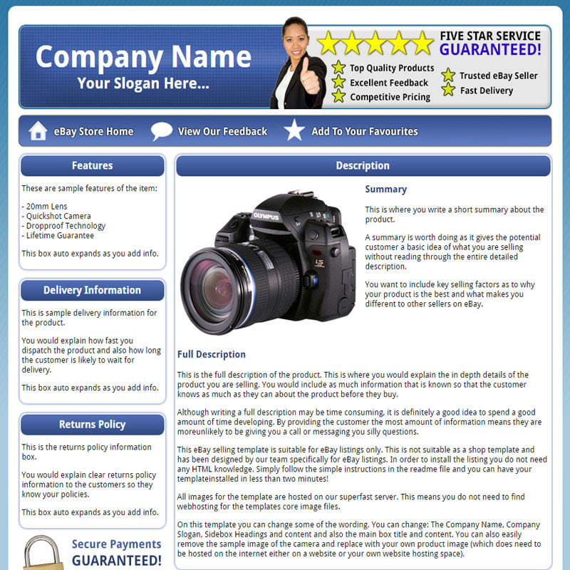 Provide You With The Procorp Static Html Ebay Listing Template By Ebytemplates