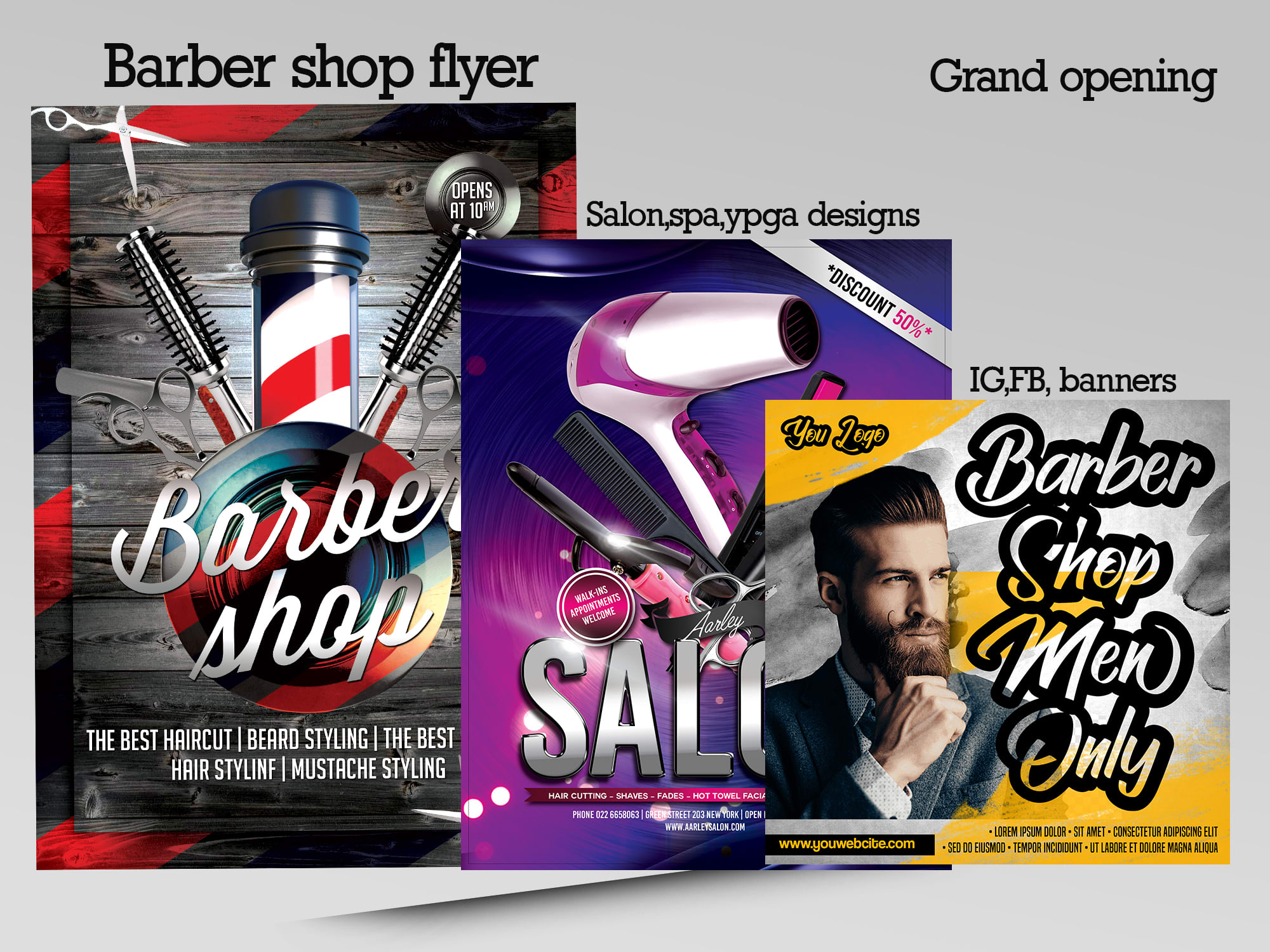 Do Barber Salon Grand Opening Flyers And Ig Banners By Arman Razzaq