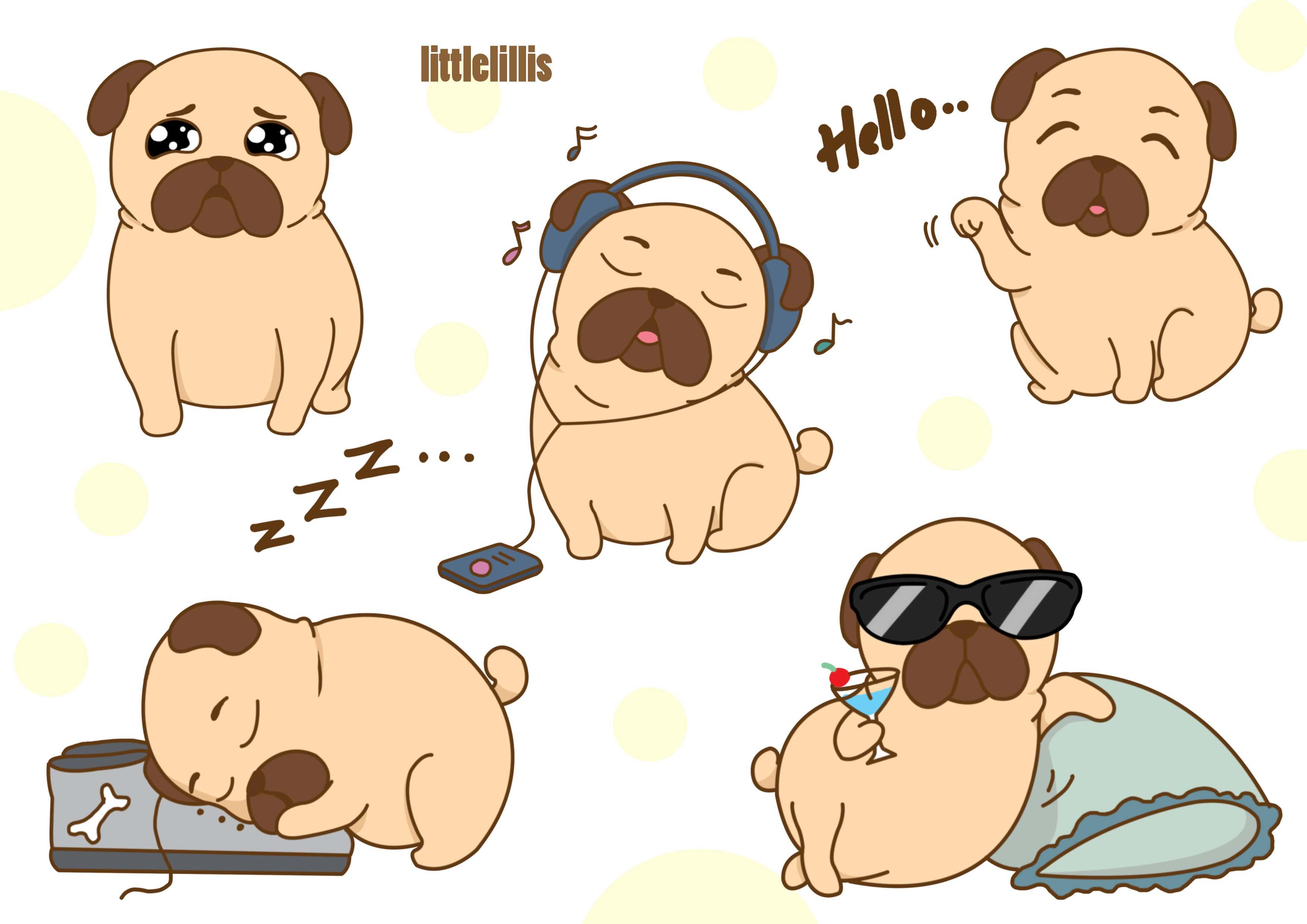 Draw Cute Dog Cartoon Illustration Pet Stickers Emojis By Littlelillis