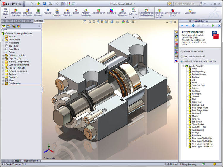 Piston cylinder assembly SOLIDWORKS 3D CAD model t