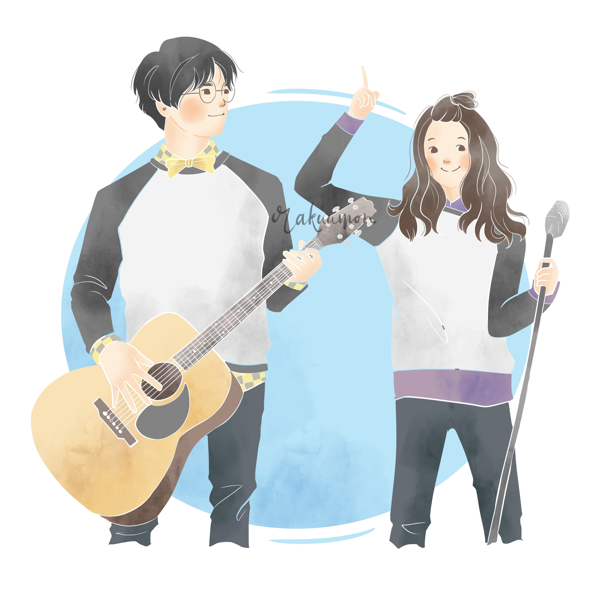 Draw Couple Or Family With Simple Cute Cartoon Style By Rakuumon