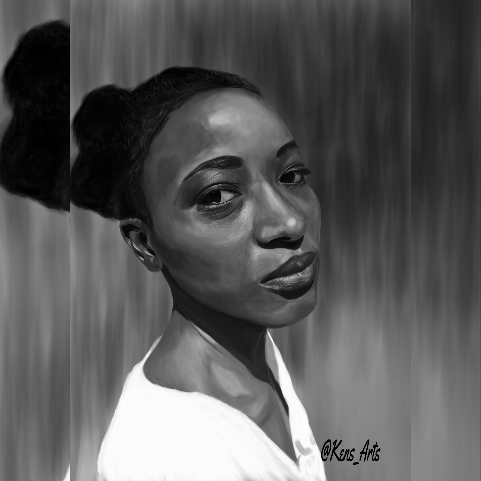 Paint A Portrait In My Digital Grayscale Style By Ken Toons