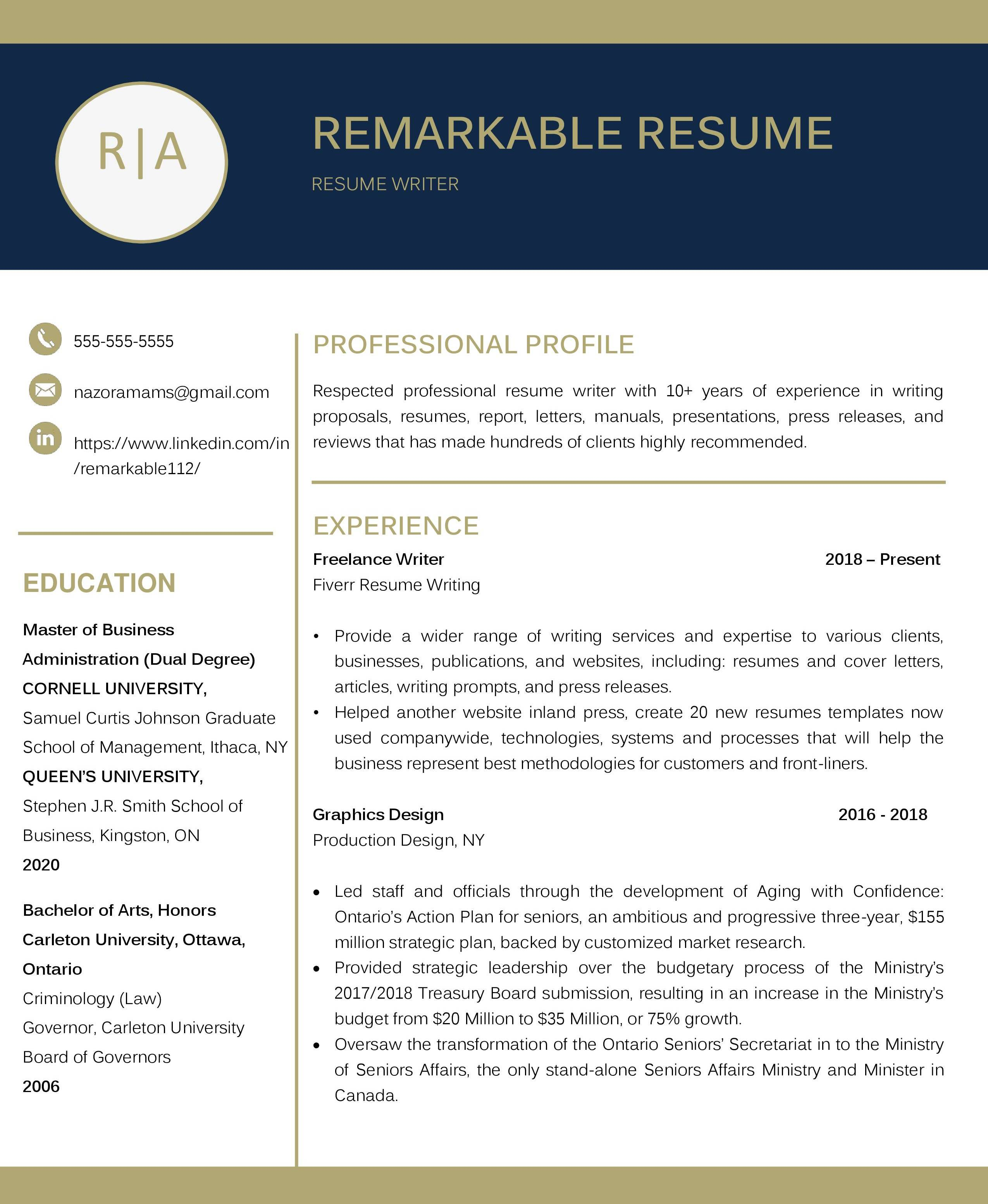 write your resume, linkedin profile, cover letter