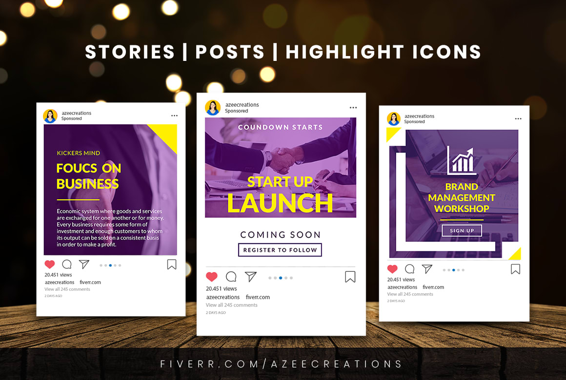 Design An Awesome Pack Of Instagram Posts And Stories By Azeecreations