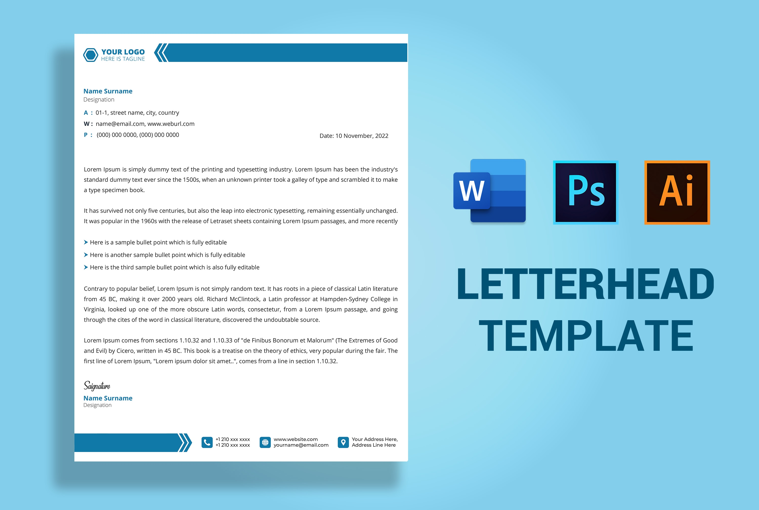 Design editable letterhead template ms word, ai, psd, pdf by With How To Create A Letterhead Template In Word