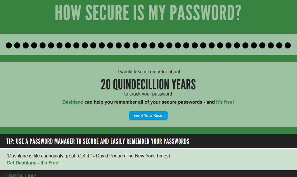 create a super secure and easy to remember password