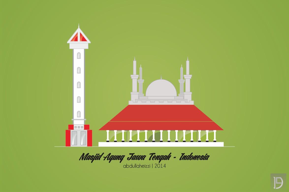 Masjid Agung Jawa Tengah Vector Gambar Islami