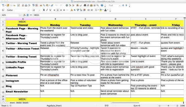 Give You A Simple Social Media Calendar Template By Bevhepting - Facebook post calendar template