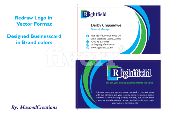 Professionally design business card by masoodcreations 1 reviews reheart Image collections