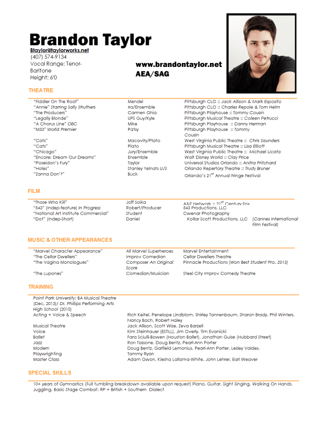 Format your film theatre or acting resume by Teejax