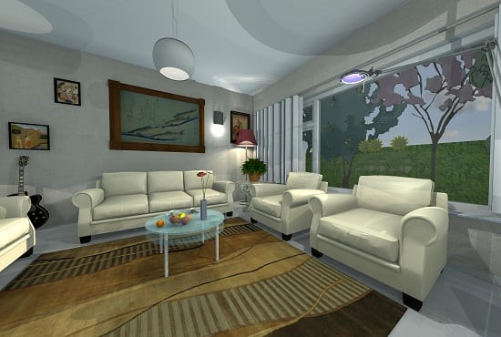 Make a 3d interior design with sketchup by Kearchitect