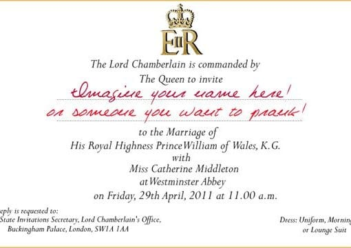 Create you a replica william and kate royal wedding invitation and