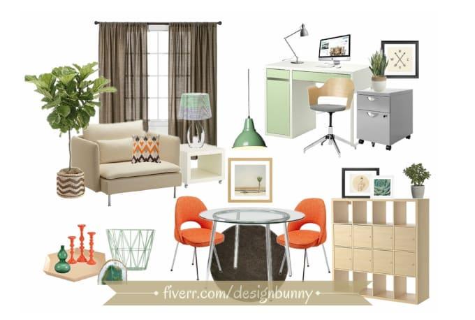 Create an interior design concept board by Designbunny