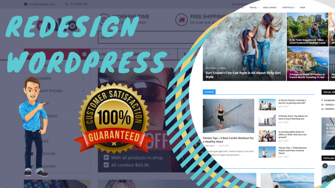 redesign or customize existing wordpress website
