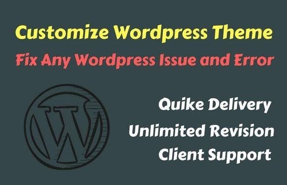 I will fix wordpress errors issues and customize wordpress theme