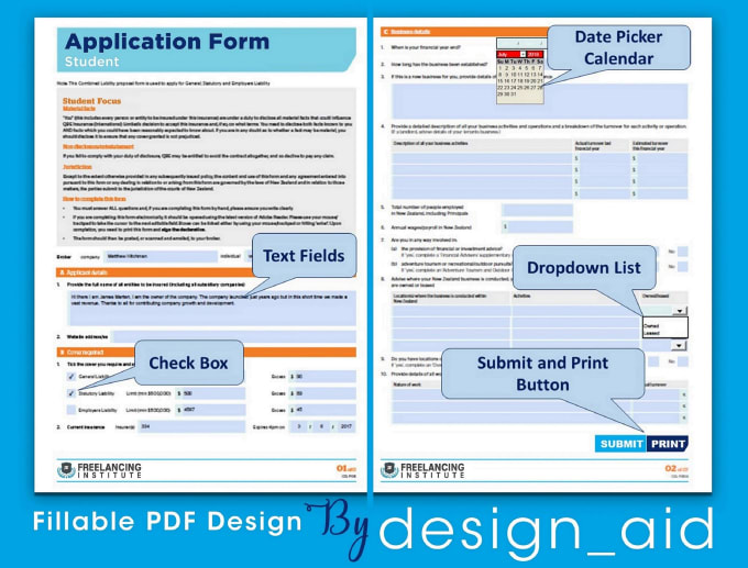 Create Fillable Pdf Form And Design Professionally By Design Aid