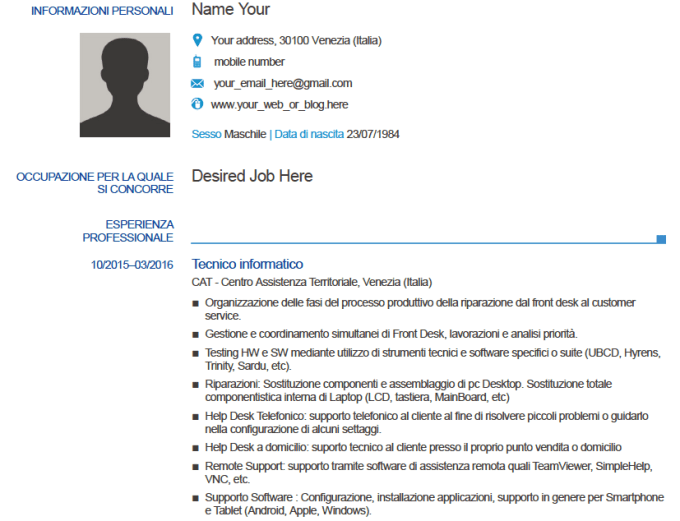 convert your english cv into italian standard format by