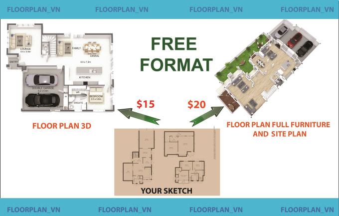 Redraw Floor Plan 2d And 3d For Real Estate Agent By Floorplan Vn Fiverr