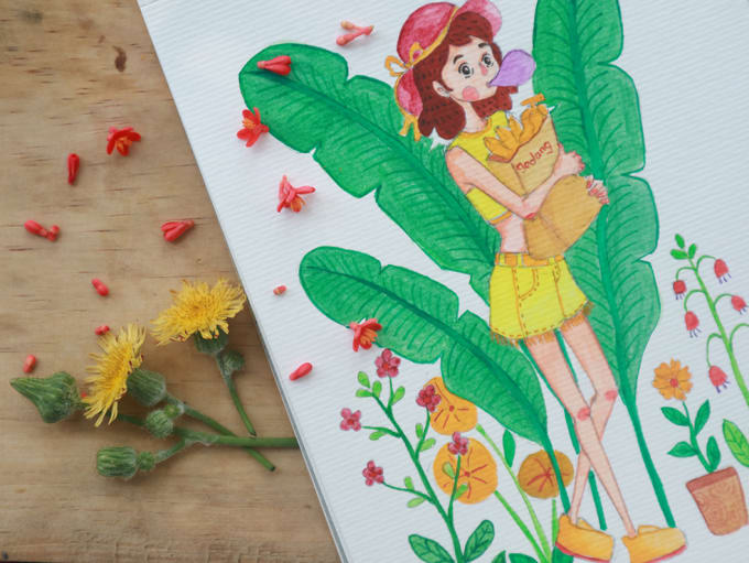 do watercolour cute and funny illustration
