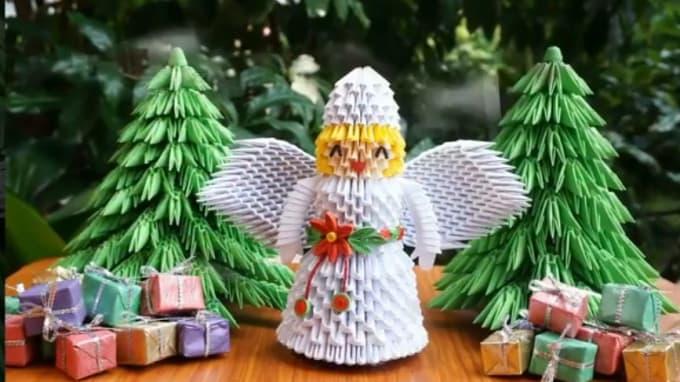 How to make 3d origami Minion Santa Claus part 1 - YouTube | 382x680