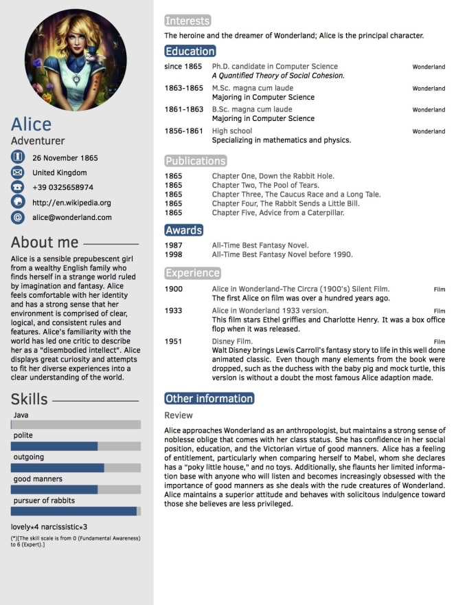 creat an exceptional resume or cv that cannot be neglected