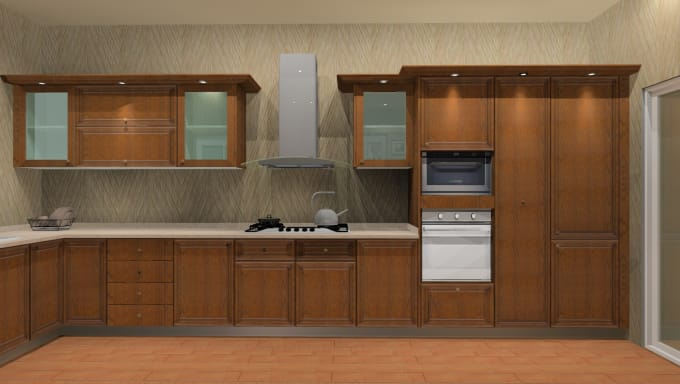 Design 3d And 2d Kitchens As Per Your Size Requirement By
