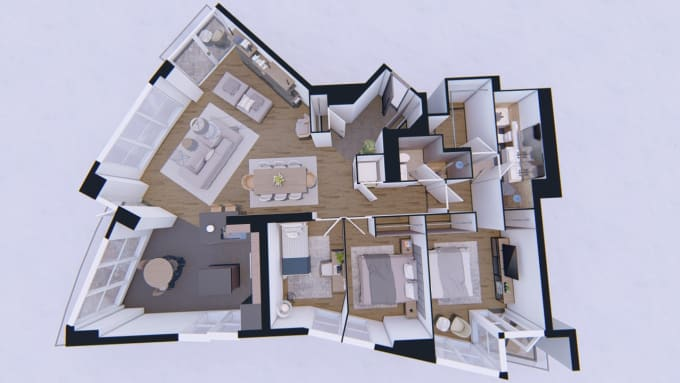 Convert Your 2d Floor Plan To A 3d Floor Plan By Annmichele Fiverr