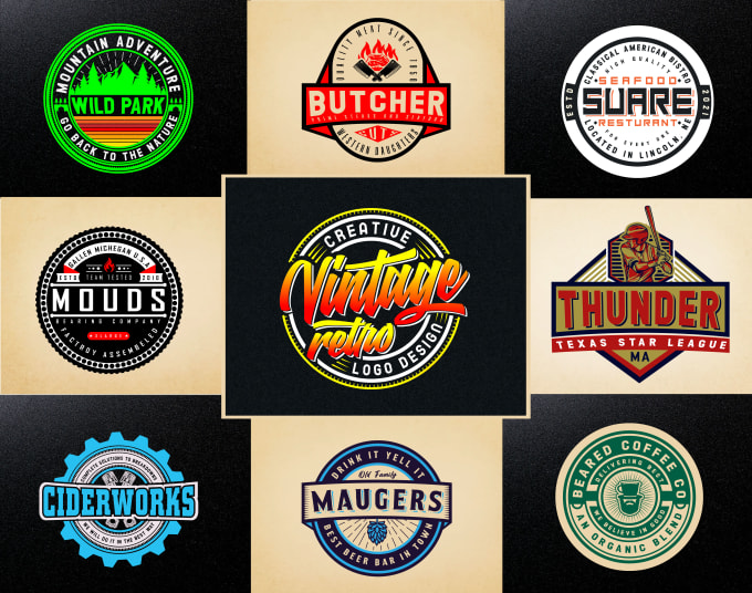 I will design awesome vintage retro badge hipster round logo