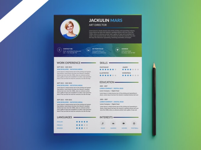 Your Resume Or Cv With Best Graphic Designs In Adobe Photoshop And