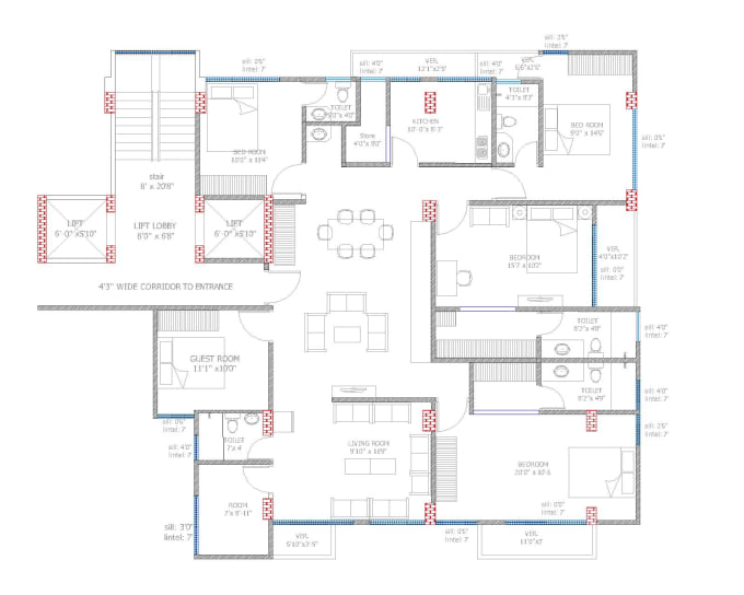Draw Your Hand Drawn 2d Floor Plans In Autocad By Arifahamed01