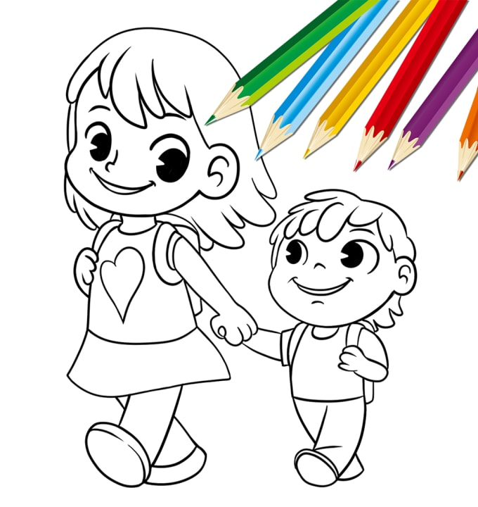 - Draw A Coloring Book Page Illustration For Children And Kids By Cricaart