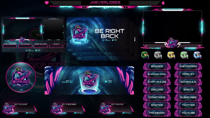 design animated twitch or facebook or youtube stream overlay