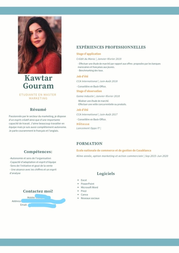 Design Your Resume Cv Beautifully With Canva In 24 Hours By Gougou1997 Fiverr
